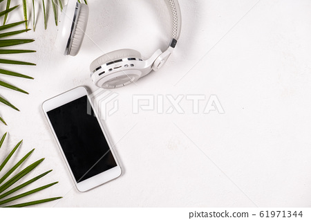Business concept flat lay, on white  background 61971344