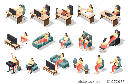 Sedentary Lifestyle Isometric Recolor Icon Set 61972023