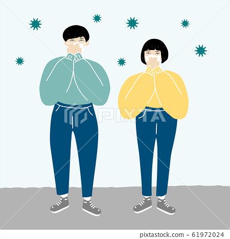 患有病毒,感冒和花粉的男女B 61972024