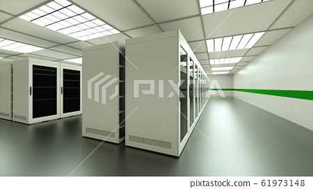 Large server room interior in datacenter, web network and internet telecommunication technology, data storage and cloud service concept, 3d render 61973148