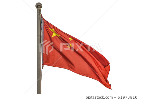 Close-up of the famous Chinese national flag in the heart of Beijing on Tiananmen square 61973810