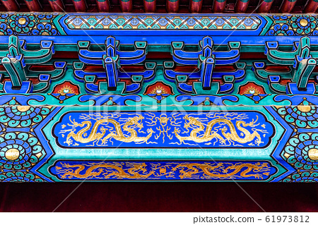 China, Beijing, Forbidden City Different design elements of the colorful buildings rooftops closeup details 61973812