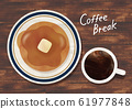煎饼和咖啡水彩 61977848