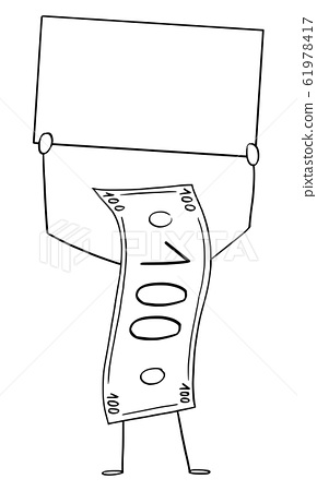 Banknote or Currency Bill Cartoon Character Holding Empty Sign in Hand, Vector Illustration 61978417