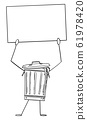 Garbage Bin or Can Cartoon Character Holding Empty Sign in Hand, Vector Illustration 61978420