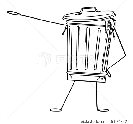 Garbage Bin or Can Cartoon Character Pointing at Something by Hand, Vector Illustration 61978422