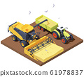 Vector isometric combine harvester and tractor at harvest 61978837
