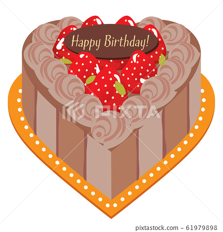 Heart cake strawberry 01 raw chocolate 61979898