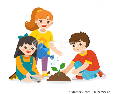 Children planted and watering young trees from watering can. 61979942