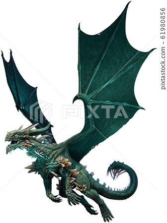 Sea green dragon 3D illustration 61980856