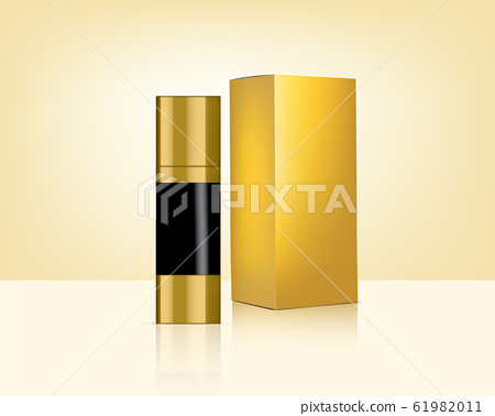 Bottle Mock up Realistic Gold Cosmetic and Box for 61982011