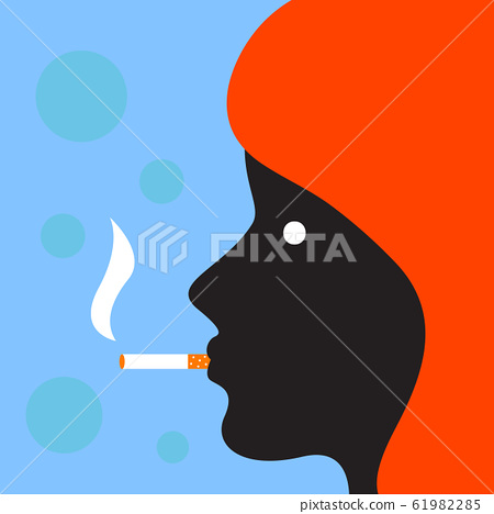 Profile of woman with cigarette 61982285