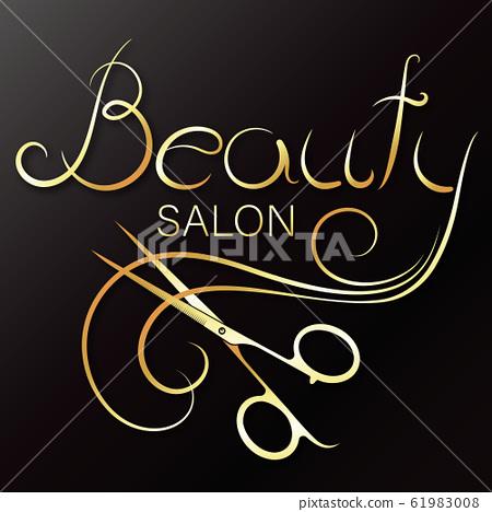 Beauty salon and stylist hair gold symbol 61983008