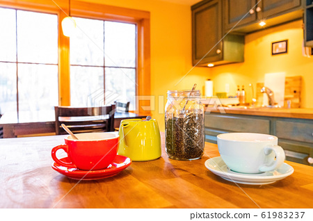 Morning wake up tea set with kettle and cups 61983237