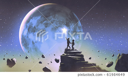 two brothers looking at a little star 61984649