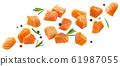 Falling salmon slices isolated on white background 61987055