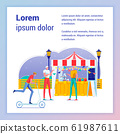 Food Booth, Stand Flat Vector Banner Template 61987611