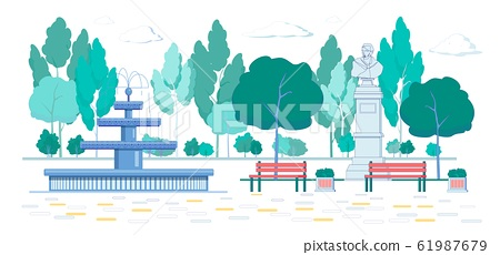 CLassic University Park with Fountain, Monument. 61987679
