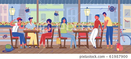 Leisure Time in Outdoor Street Cafe with Terrace. 61987900