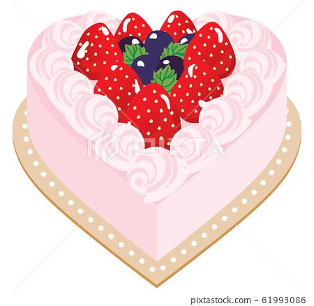 有很多草莓的粉紅色心形蛋糕 61993086