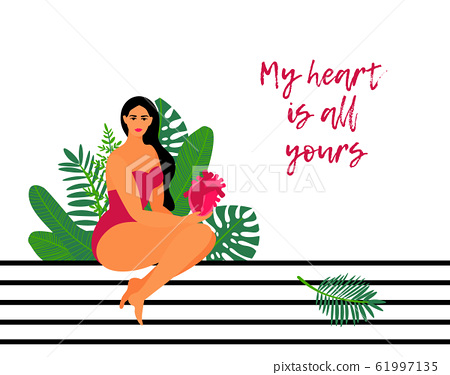 Valentines day card with a beautiful girl holding red heart. Tropical leaves background. Love quote 61997135