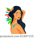 Girl portrait. Spa therapy, organic hair or skin care, makeup concept. Cartoon flat design. Spring 61997155