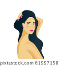 Girl portrait. Spa, makeup or hair dresser concept. Long hair woman character with beautiful face 61997158