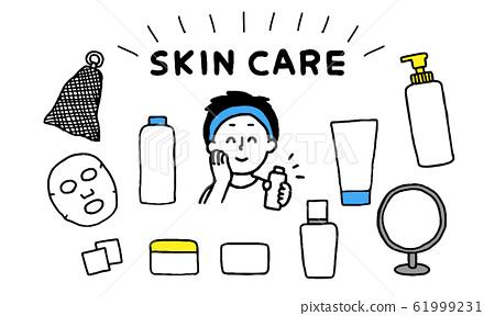 用護膚產品保養皮膚的男人(簡單) 61999231
