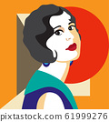 Fashion woman portrait art deco style. Flat 61999276