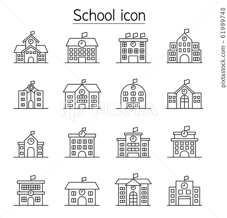 School icon set in thin line style 61999748