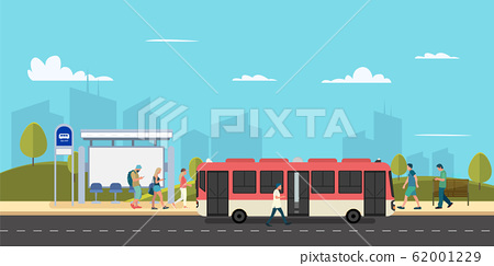 Bus stop of main street city with people walk  62001229