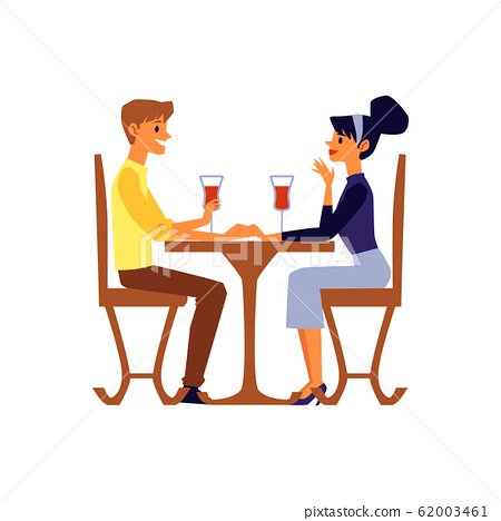 Cartoon couple talking and drinking wine sitting at restaurant table 62003461