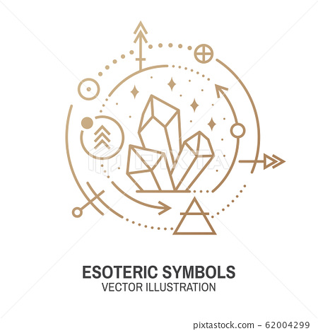 Esoteric symbols. Vector. Thin line geometric badge. Outline icon for alchemy or sacred geometry. Mystic and magic design with alchemy symbols and crystals. 62004299