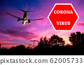 Coronavirus stop sign overlaying a plain background 62005733