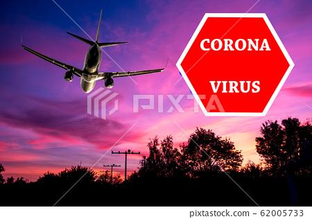 Coronavirus stop sign overlaying a plain background 62005733