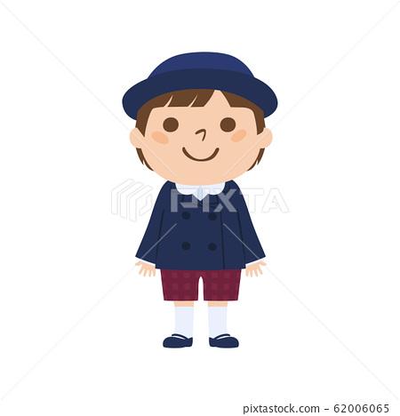 一個幼兒園男孩的例證制服的。 62006065