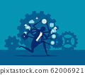 Businesswoman running a hurry multitasking. 62006921