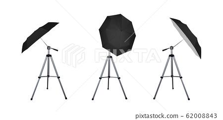 Black umbrella reflectors set for flash. 62008843