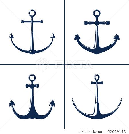 Blue flat anchor isolated on white background 62009158