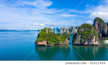 Aerial view Phra Nang Cave Beach with traditional 62011484