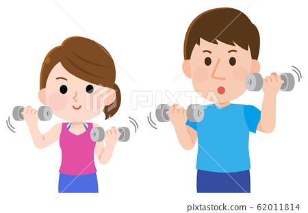 啞鈴肌肉訓練男人女人上半身圖 62011814