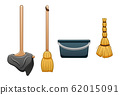 Isolated mop with rag, broom, bucket and besom for 62015091