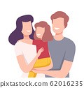 Happy Loving Family. Smiling Parents and Their Daughter Embracing Each Other Vector Illustration 62016235