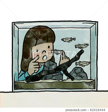 Girl counting fish in aquarium 62016444
