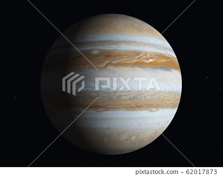 Planet Jupiter partially illuminated by the sun 62017873