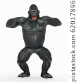 Angry gorilla beating its chest 62017896
