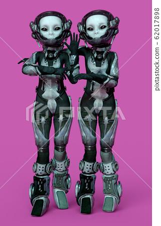 Female aliens posing in futuristic space suit 62017898