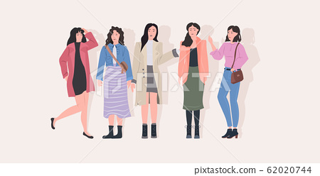 beautiful women group standing together attractive girls female cartoon characters in casual clothes full length flat horizontal 62020744