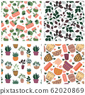 bundle of succulents, cacti and houseplants hand drawn vector seamless pattern. home garden cartoon flowers. fabric design. 62020869