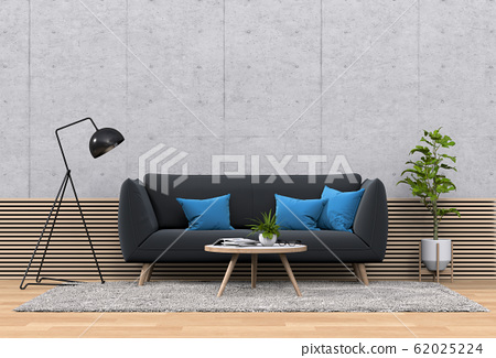 interior living room wall concrete with sofa, plant, lamp, decoration, 3D render 62025224